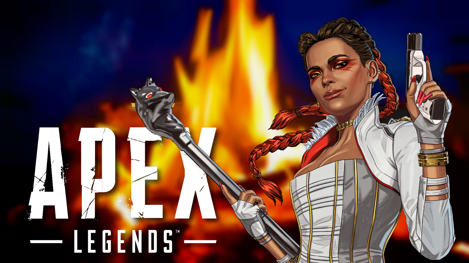 Apex Legends' Loba in front of campfire