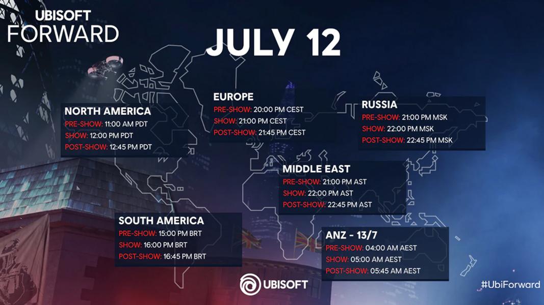 Ubisoft Forward Time Zone Graphic