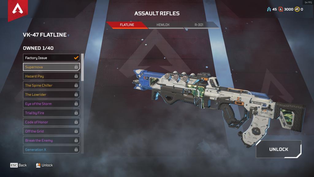 Assault rifle skins in Apex Legends