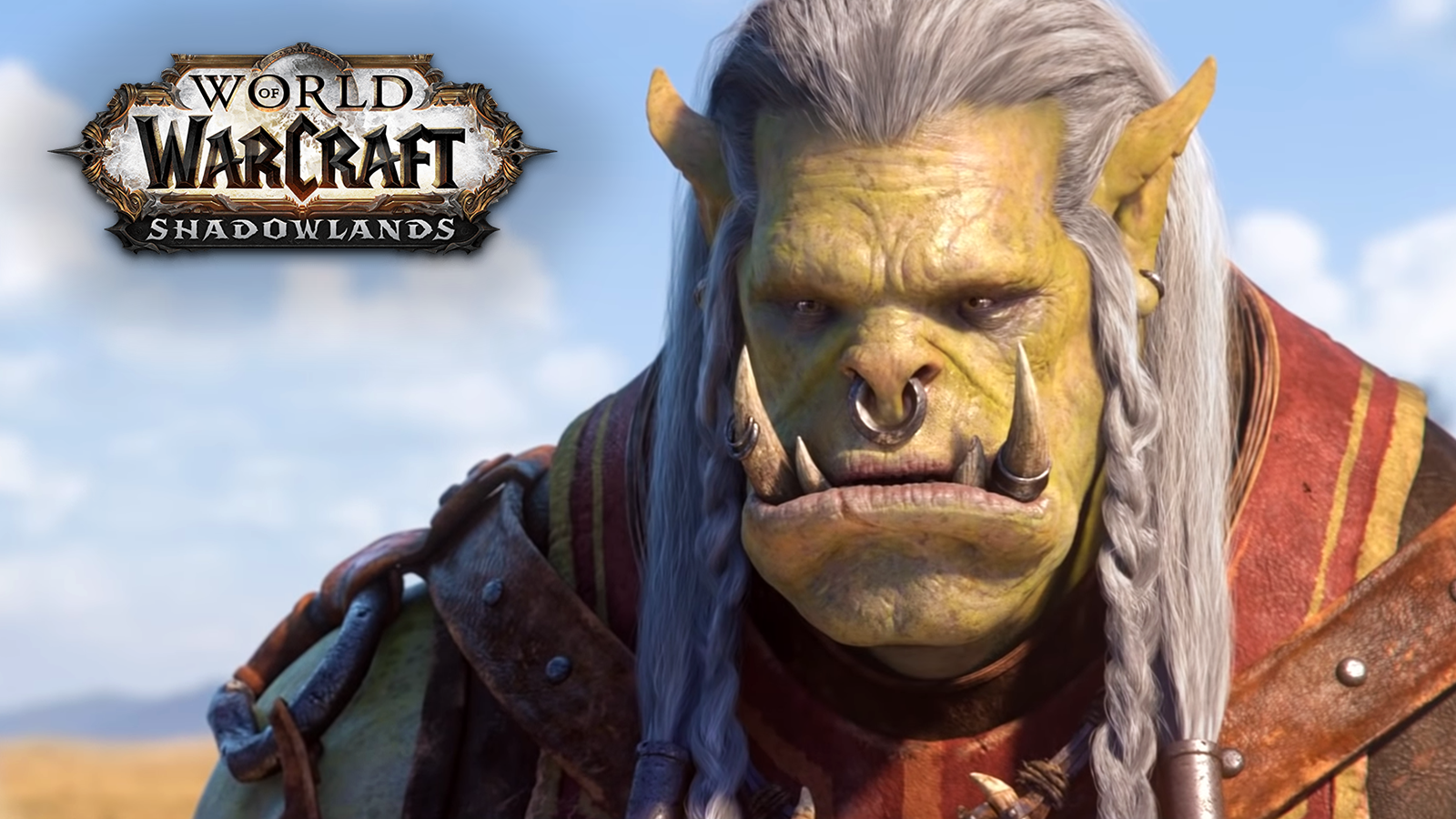 Varok Saurfang standing in a field in World of Warcraft.