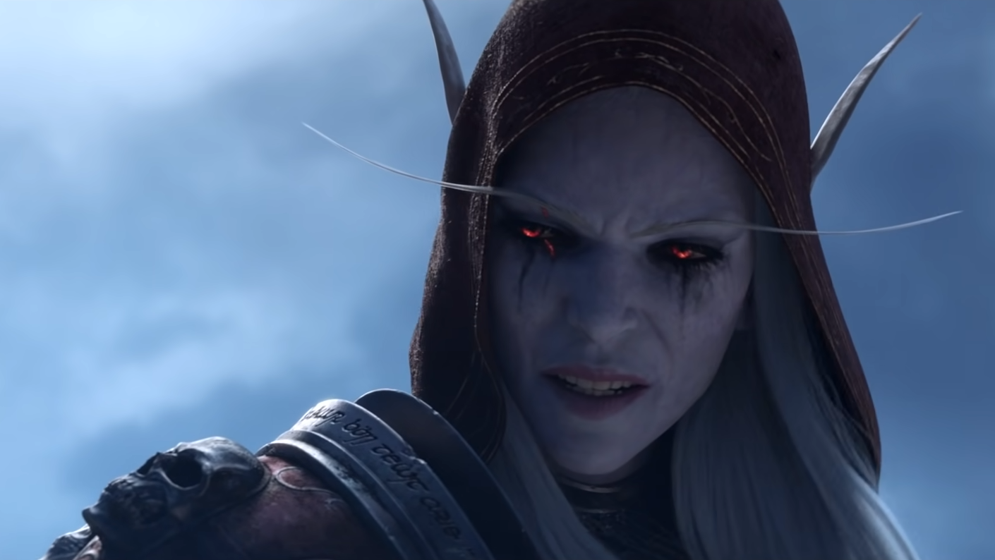 Sylvanas sneers at the Lich King in the Shadowlands cinematic trailer.