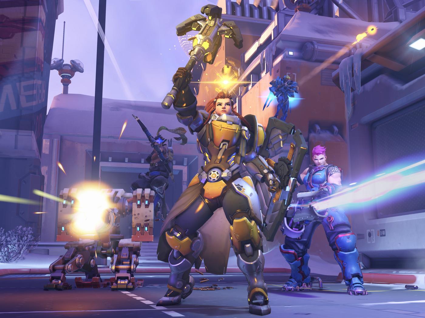 Overwatch hero Brigitte using her Ultimate to keep teammates alive