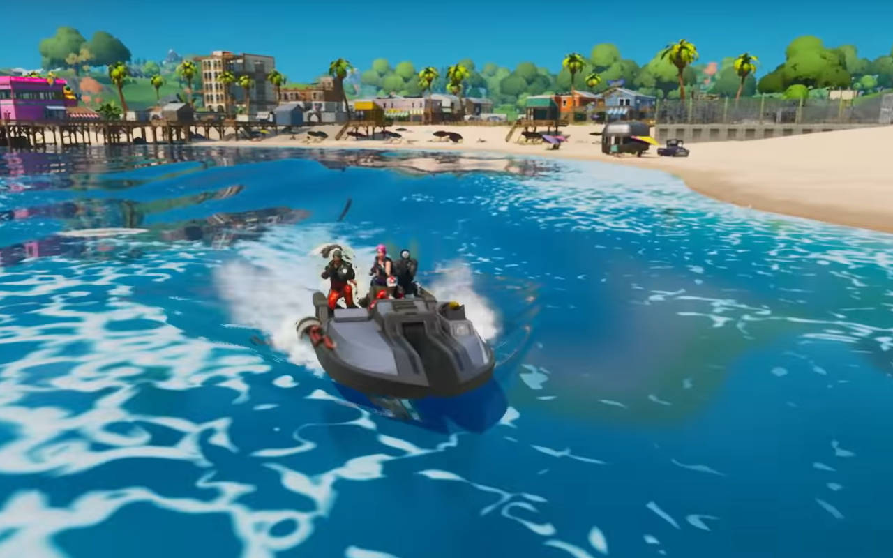Fortnite players riding in boat