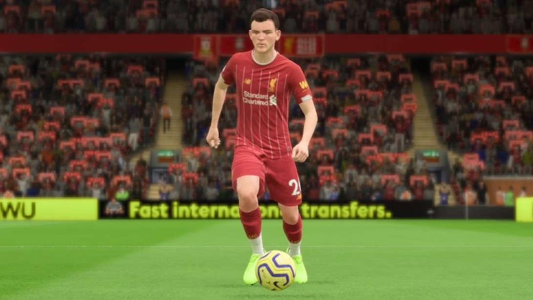 Liverpool left-back Andy Robertson in FIFA 20.