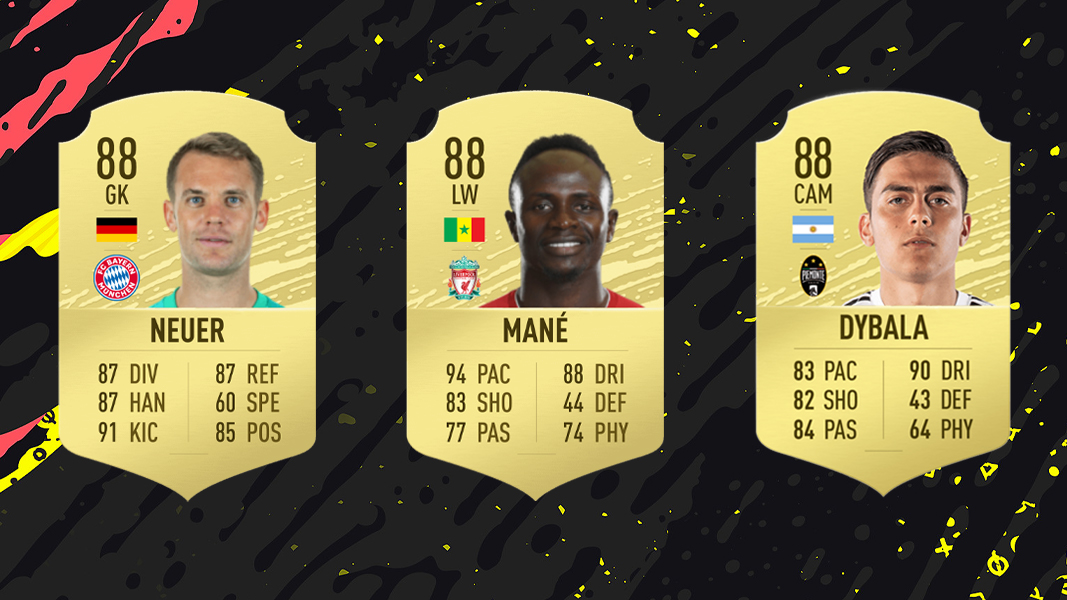 Mane, Neuer and Dybala Cards in FIFA 20