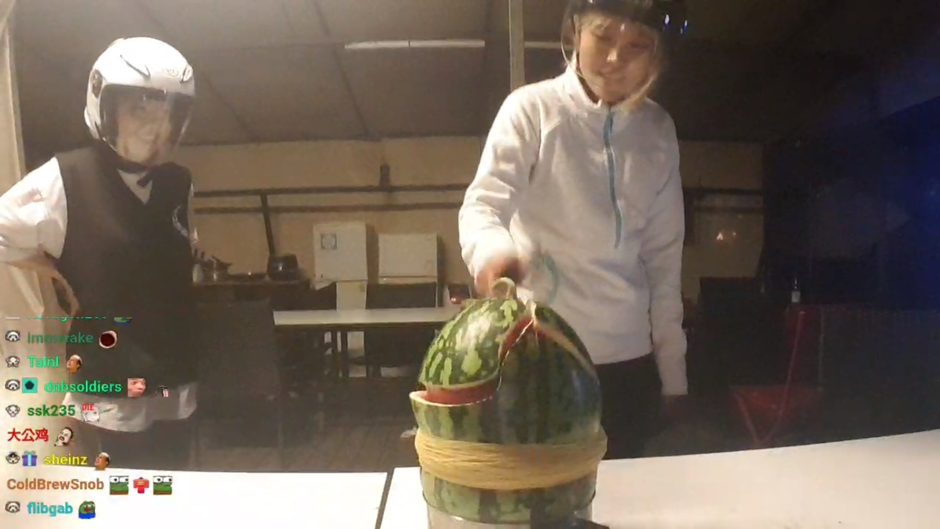 Twitch streamer HAchubby and Yuggie_TV doing exploding watermelon challenge