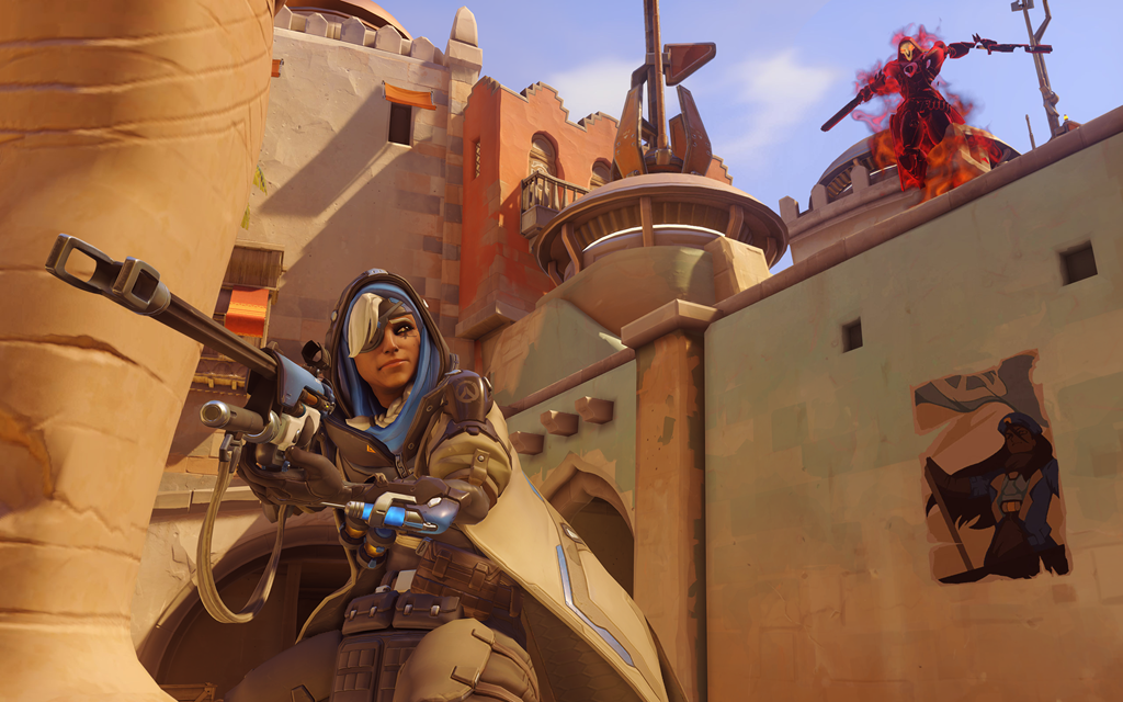 Ana attacks by Reaper in Overwatch
