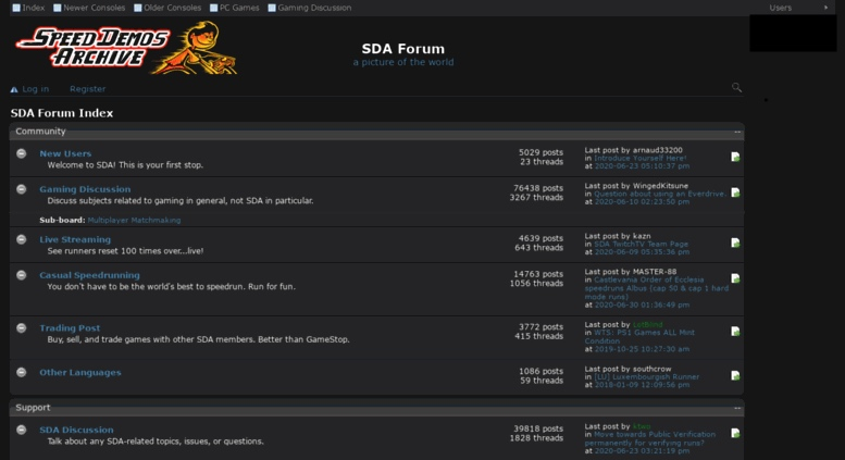 Speed Demos Archive homepage