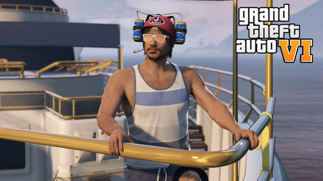 A GTA character stood on a boat