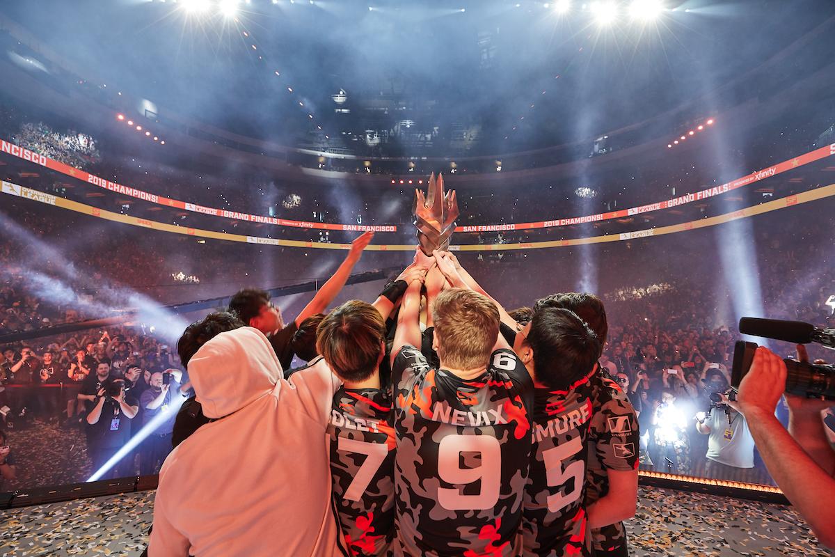 The Shock celebrate winning the 2019 Overwatch League season