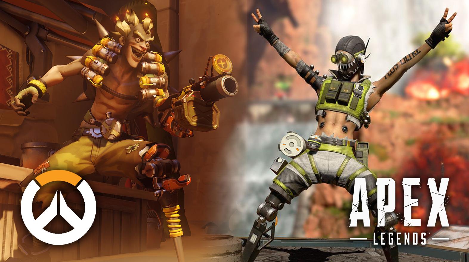 Overwatch Hero Junkrat standing next to Apex Legends character Octane