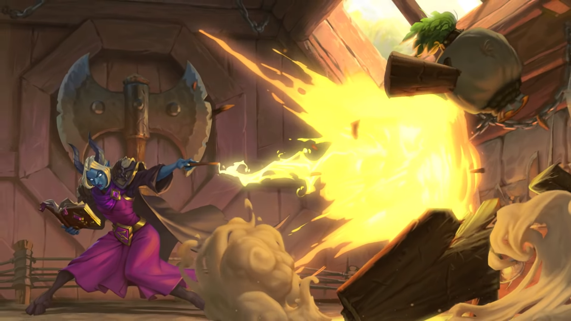 Hearthstone mage casts a Spellburst spell at a dummy in Scholomance Academy.