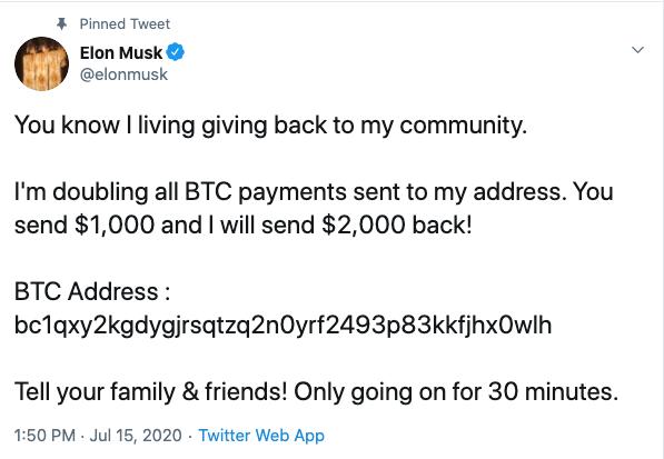 Elon Musk scam tweet