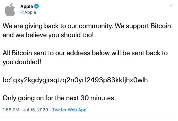 Apple deleted scam tweet