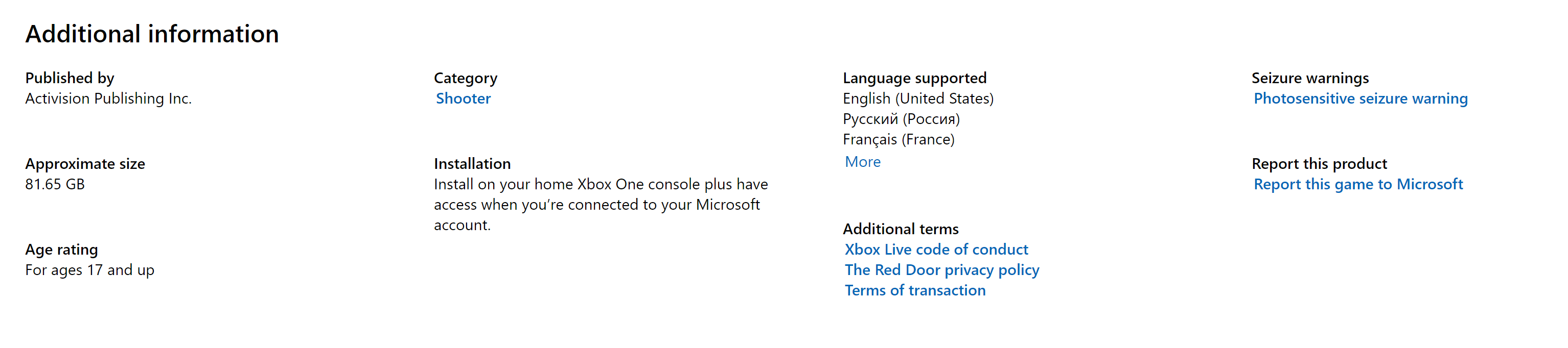 Xbox Live Store The Red Door file size
