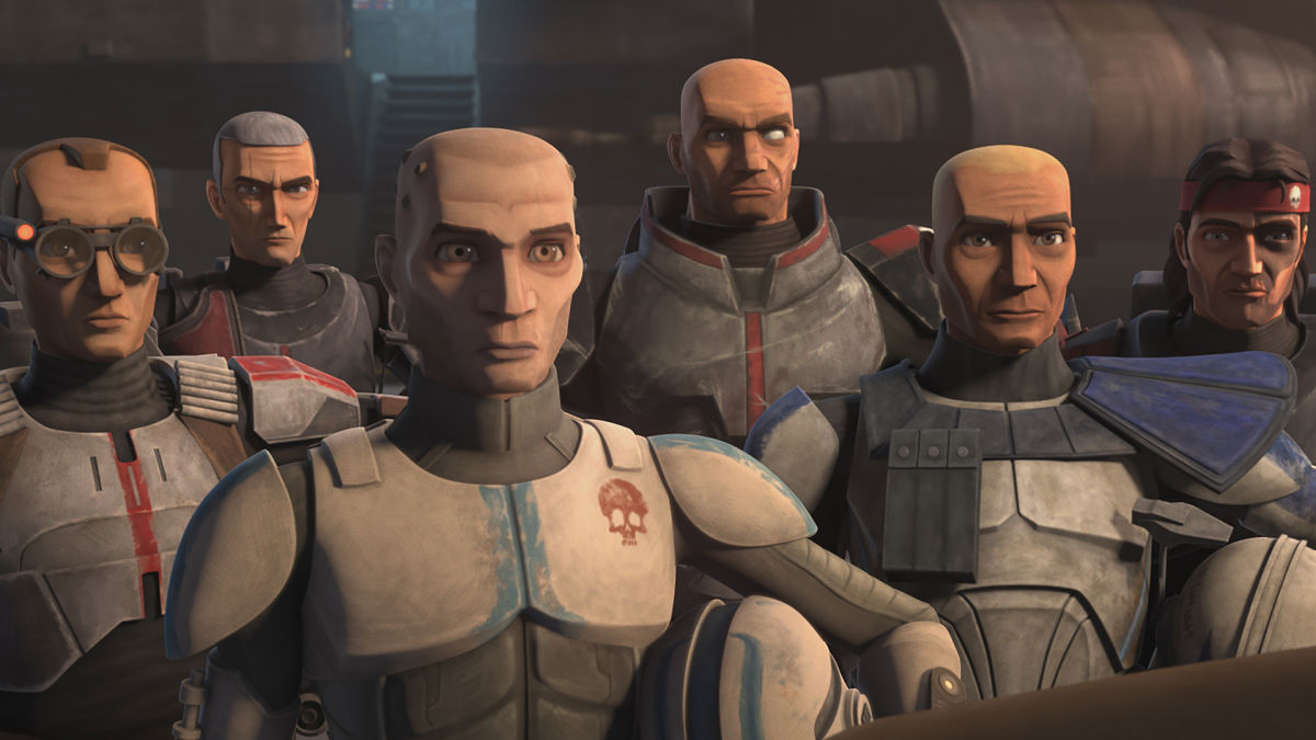 The Bad Batch stand at attention in Star Wars: The Clone Wars