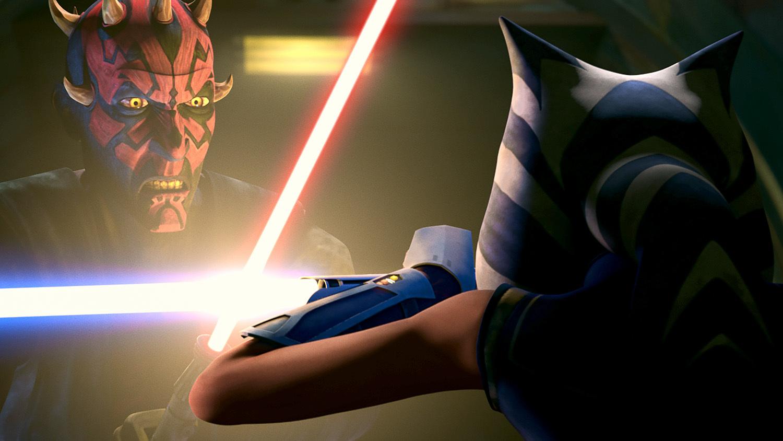 Darth Maul and Ahsoka Tano cross lightsabers.
