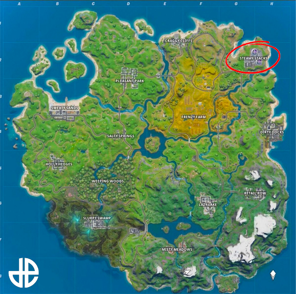 Fortnite map with Steamy Shacks