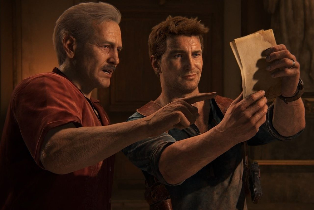 Nathan Drake and Sully from Uncharted 4