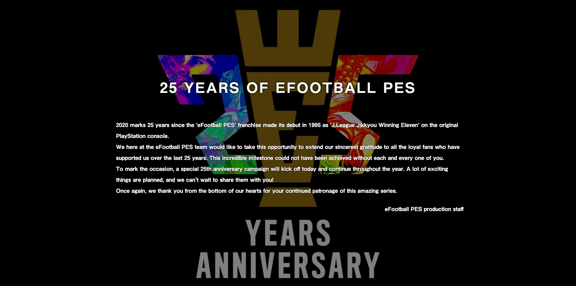 PES 25 year anniversary announcement