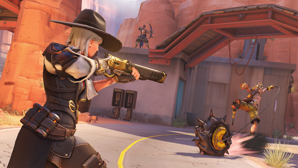 Ashe fights Junkrat on Route 66