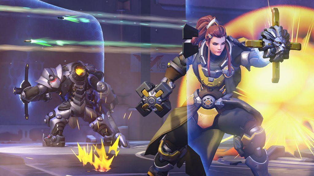 Brigitte and Reinhardt using their shields in Overwatch
