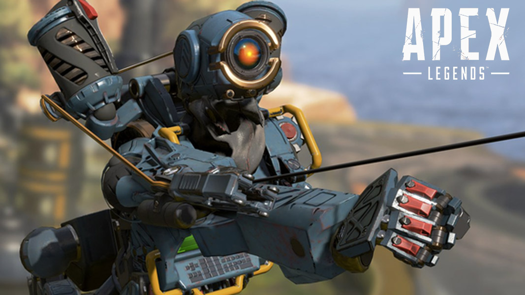 Pathfinder using a grapple hook in Apex Legends