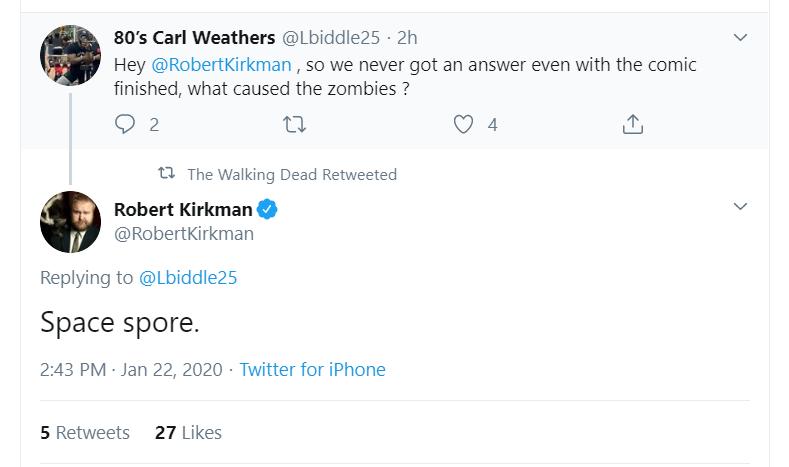 Screenshot of Robert Kirkman's tweet