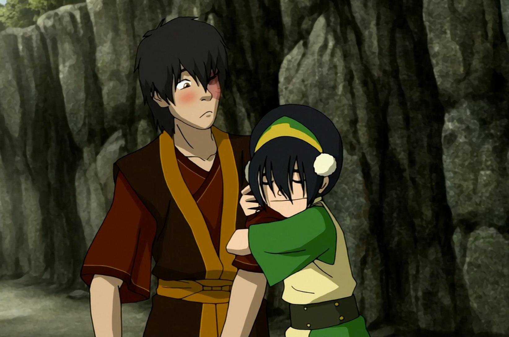 toph hugging zuko avatar