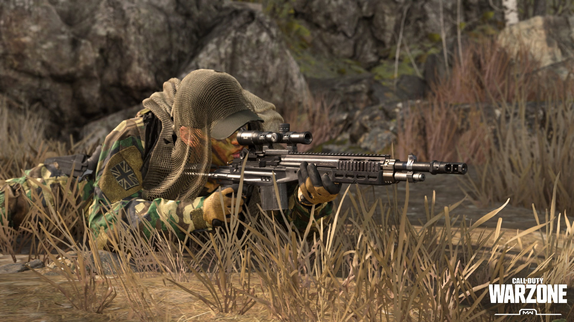 Player lying in the grass in Warzone.