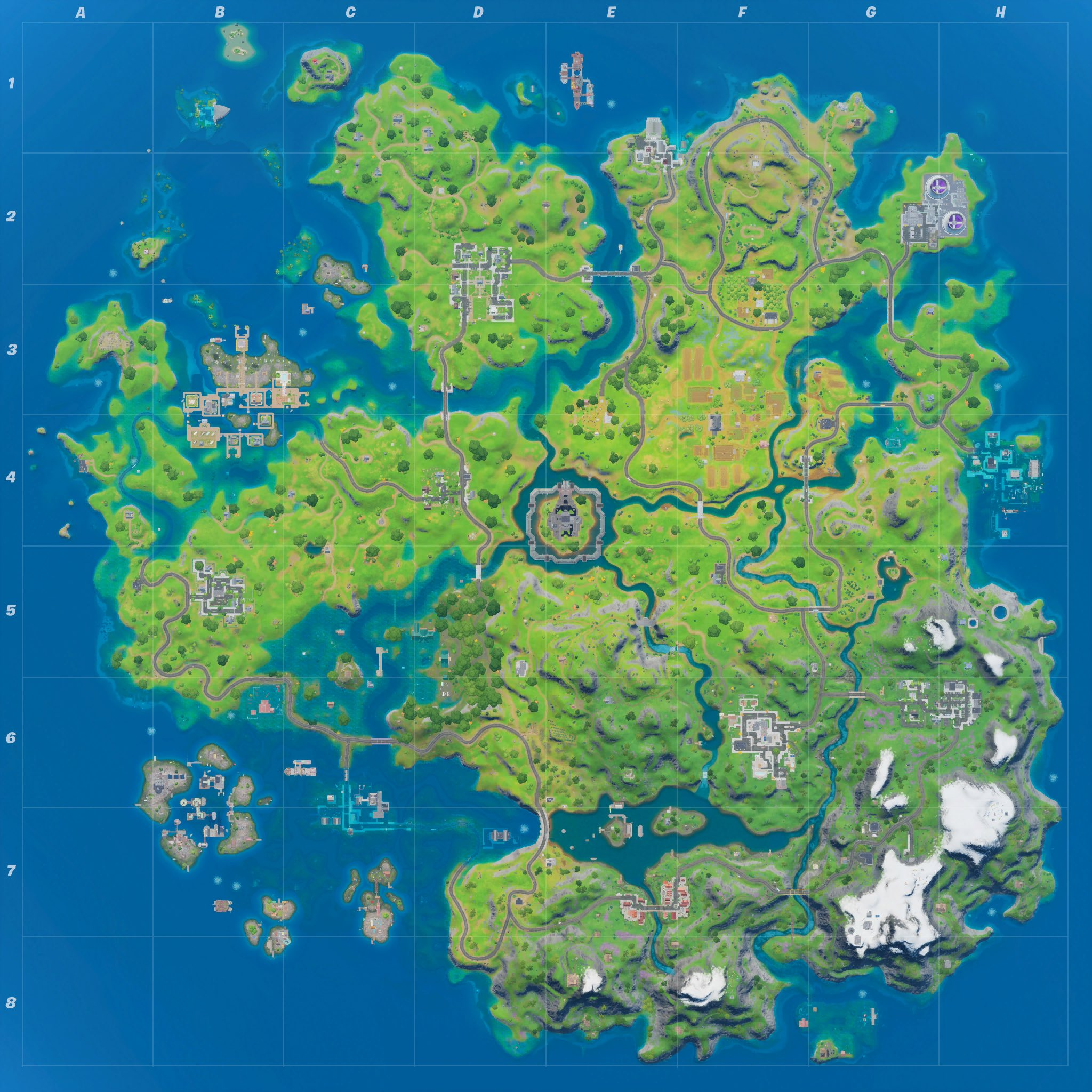 A screenshot of the Fortnite map.
