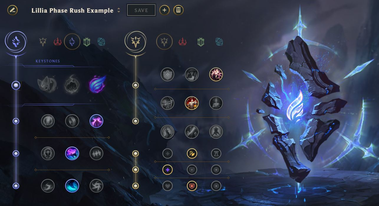 Lillia Phase Rush rune page guide example