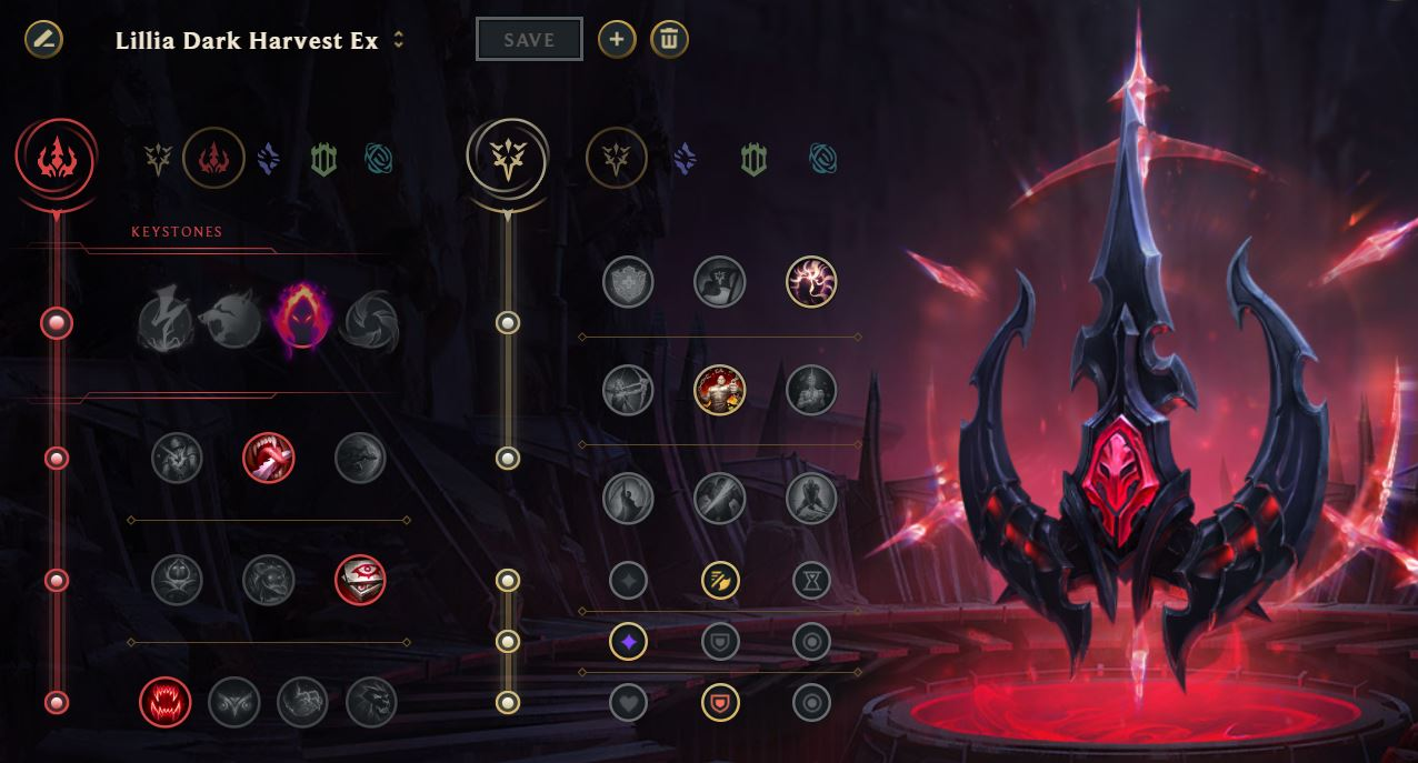 Lillia Dark Harvest rune page guide example for League of Legends