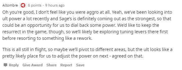 Riot's Altombre commenting on Sage in Valorant.