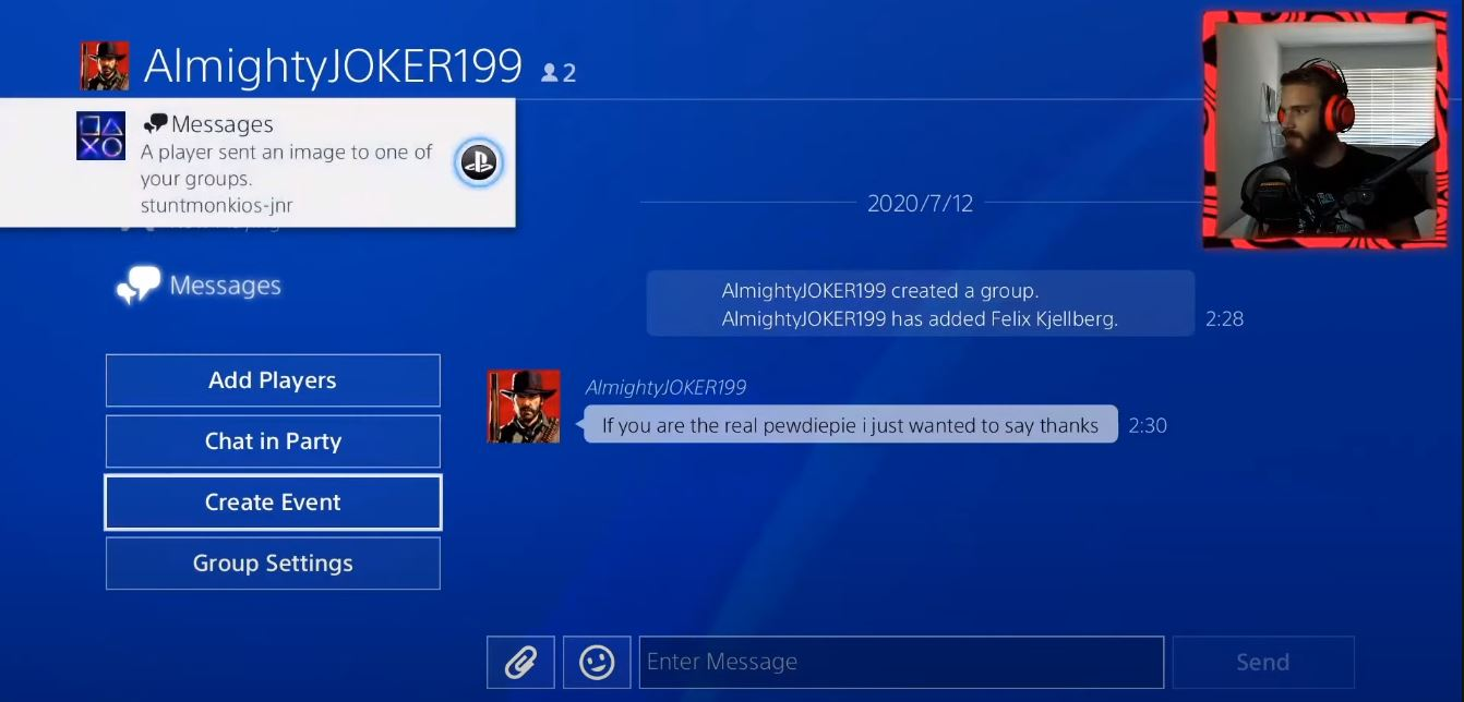 pewdiepie flooded with messages on PS4