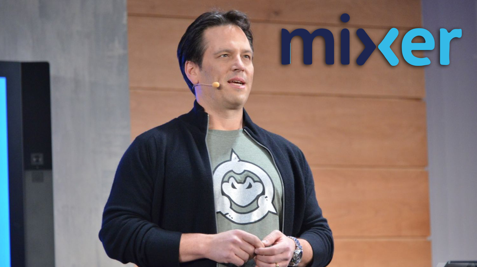 Phil Spencer keynote with mixer logo