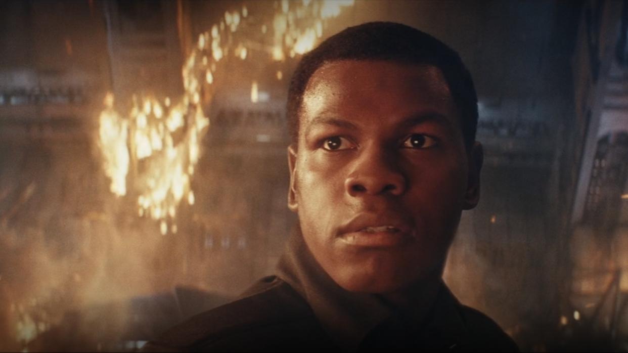 John Boyega as Finn in Star Wars The Last Jedi.