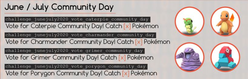 Caterpie Charmander Grimer Porygon Community Day