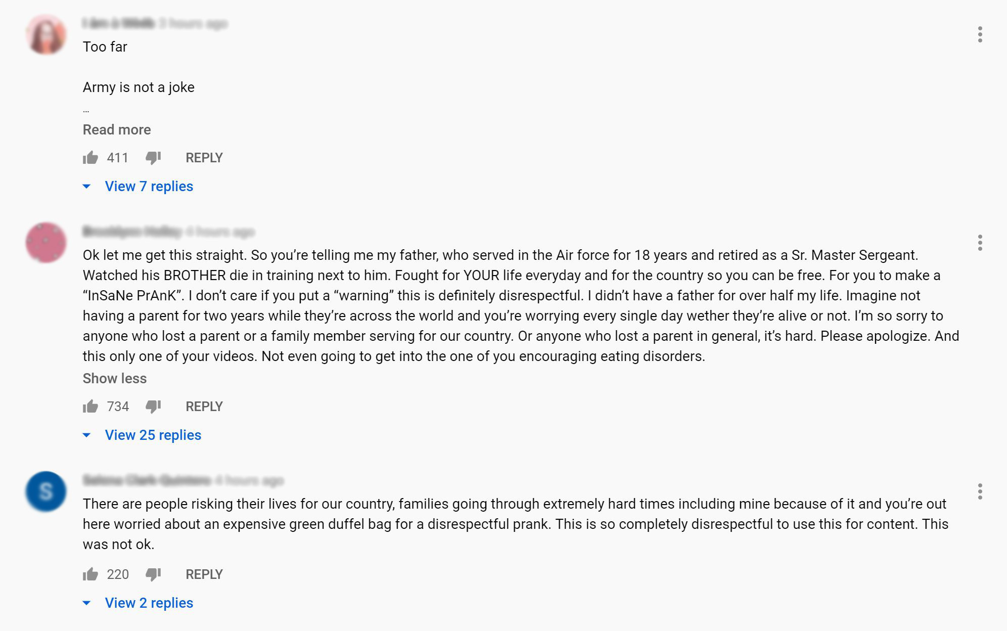 Sebastian Bails YouTube comments