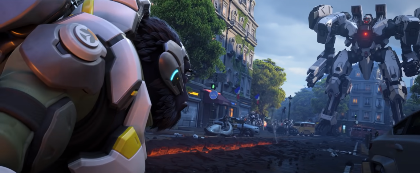 Winston faces down Omnic robot in Overwatch 2 trailer.
