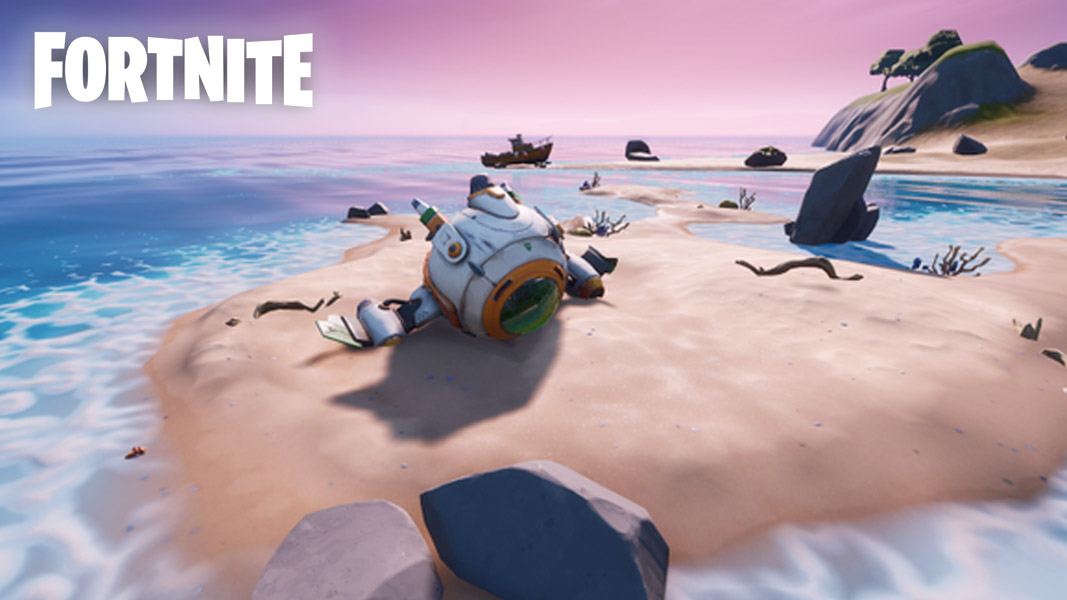 Crashed spaceship in Fortnite