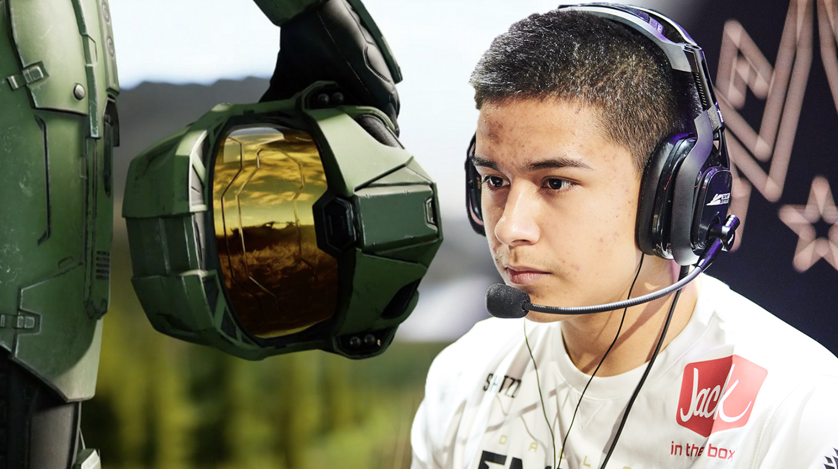 Halo Infinite Master Chief helmet / Call of Duty League pro Shotzzy competing