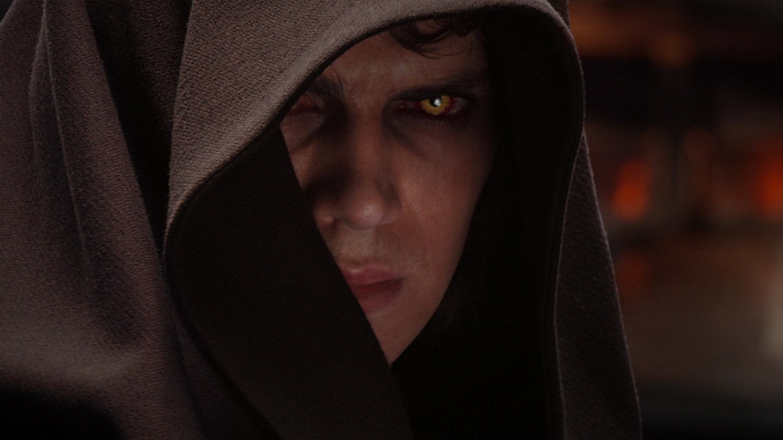 Anakin Skywalker falls to the dark side in Revenge of the Sith.