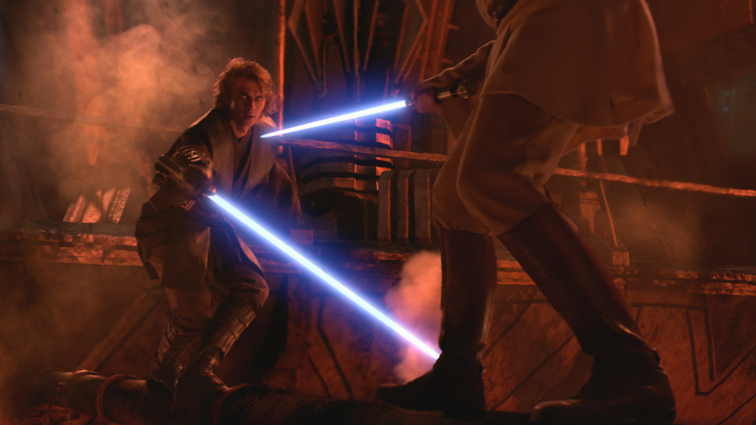 Anakin and Obi-Wan face off during their duel on Mustafar.