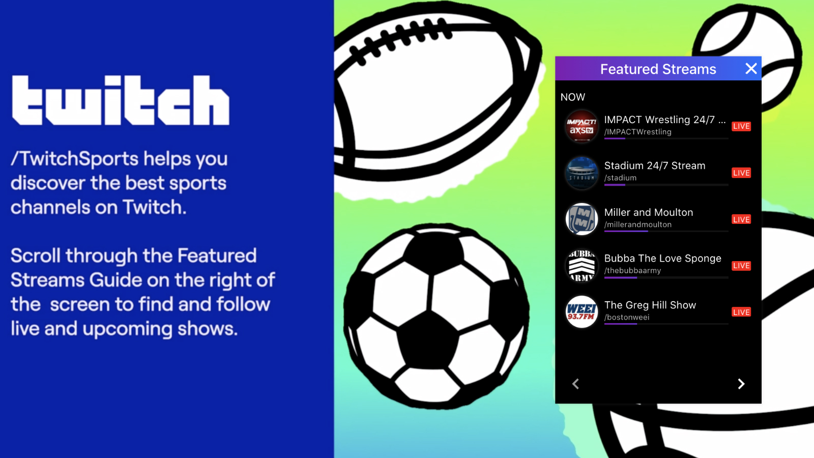 Livestream of Twitch sports channel