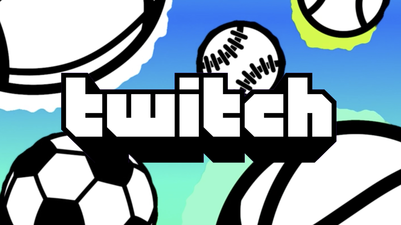 Twitch logo with football behind it