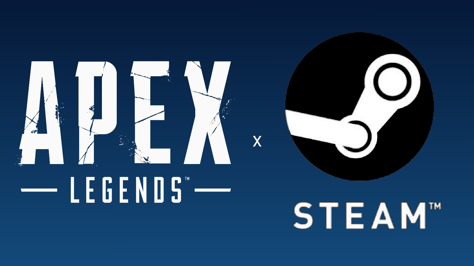 Apex Legends and Steam logos on blue background