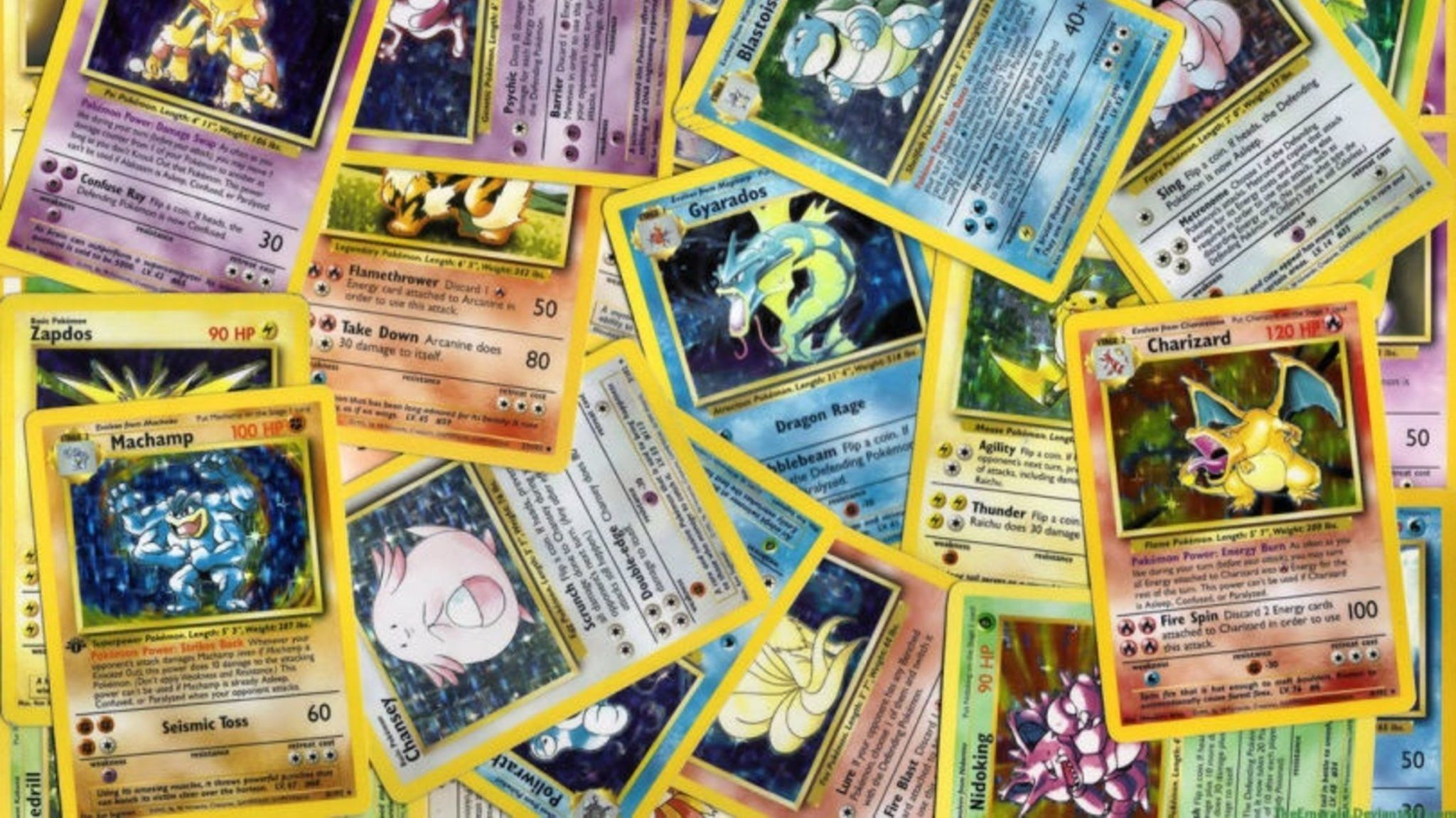 Pokemon cards all spread out