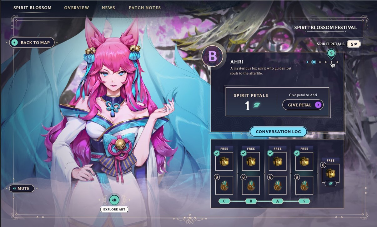 Ahri hands out loot crates in the Spirit Blossom event.