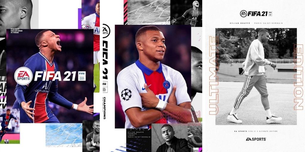 FIFA 21 game cases with Kylian Mbappe on the front